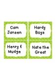 Lime Cheveron Book Bin Library Labels