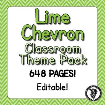 Classroom Theme Decor / Organization - Mega Bundle (Editable!) - Lime Chevron