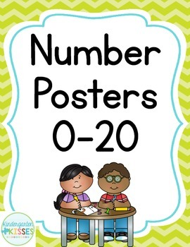 Lime Chevron Number Posters
