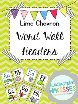 Lime Chevron Word Wall Headers