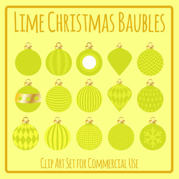 Lime Christmas Baubles / Ornaments / Decorations Clip Art for Commercial Use
