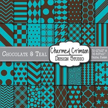 Chocolate Brown and Teal Digital Paper 1028