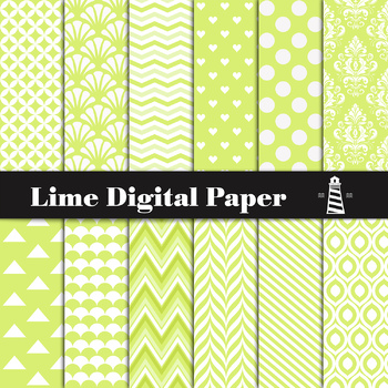 Lime Digital Paper Pack | Scrapbook Paper | Printable Backgrounds