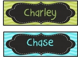 Lime Green, Aqua Blue/ Turquoise, Chalkboard, Editable Desk plate/ nameplate