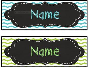 Lime Green, Aqua Blue/ Turquoise, Chalkboard, Editable Desk plate/ nameplate