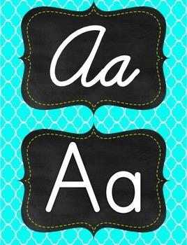 Lime Green & Aqua/tourquise quatrafoil manuscript print and cursive alphabet