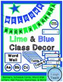 Lime Green & Blue Class Decor Pack