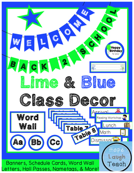Lime Green & Blue Class Decor Pack