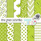 Lime Green Butterfly Digital Paper