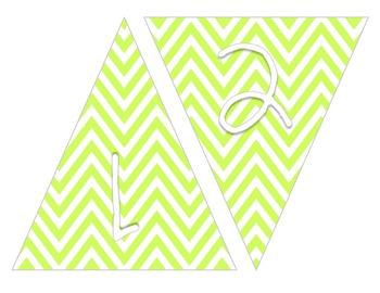 Lime Green Chevron Pennant Banner A-Z 0-9