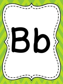 Lime Green Chevron Alphabet
