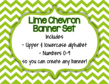 Lime Green Chevron Alphabet Banner Set (upper & lowercase, numbers 0-9)