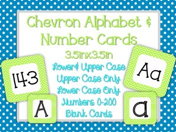 Lime Green Chevron Alphabet & Number Cards