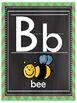 Lime Green Chevron Burlap and Chalkboard Alphabet