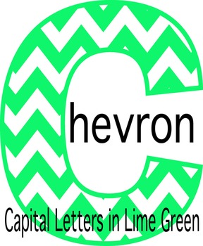 Lime Green Chevron Capital Bulletin Board Letters- Resize-able
