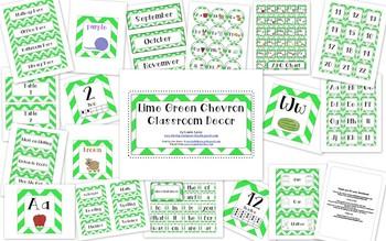 Lime Green Chevron Classroom Decor