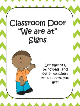Lime Green Chevron Classroom Door Signs (We are at...)