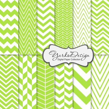 Lime Green Chevron Digital Scrapbooking Paper Set, 12 Digital Paper Sheets