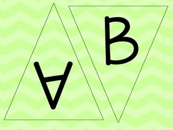 Lime Green Chevron Letters - Chevron Pennants -  Chevron W