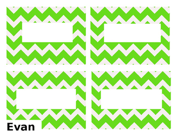 Lime Green Chevron Name Tags