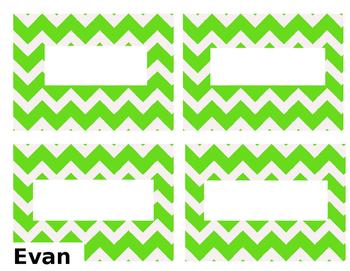 Lime Green Chevron Name Tags