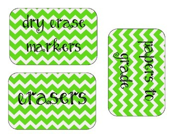 Lime Green Chevron Organizational Labels