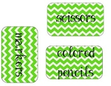 Lime Green Chevron Organizational Labels
