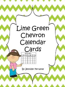 Lime Green Chevron Pocket Chart Calendar Cards