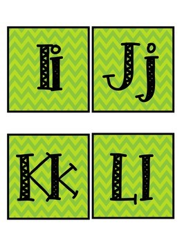 Lime Green Chevron Word Wall Letters
