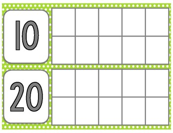 Lime Green Days in School Ten Frames Chart