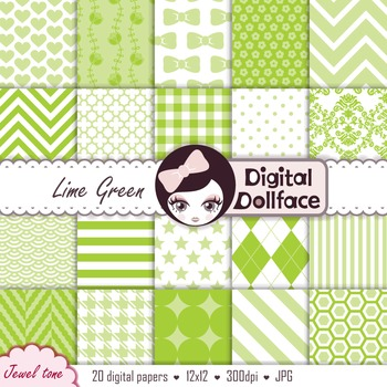 Lime Green Digital Paper - Background Patterns