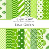 Lime Green Digital Paper patterns - bright color backgrounds