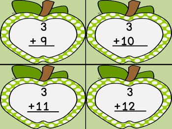 Lime Green Dot Apple Addition Flashcards 0-12