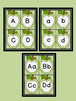 Lime Green Dot Apple Alphabet Letter Flashcards