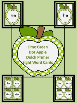 Lime Green Dot Apple  Dolch Primer Sight Word Flashcards a