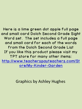 Lime Green Dot Apple Dolch Second Grade Sight Word Flashcards and Posters