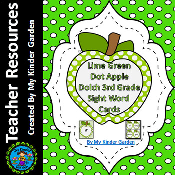 Lime Green Dot Apple Dolch Third Grade Sight Word Flashcards and Posters