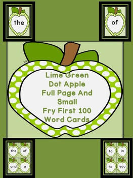 Lime Green Dot Apple Fry First 100 Sight Word Flashcards and Posters