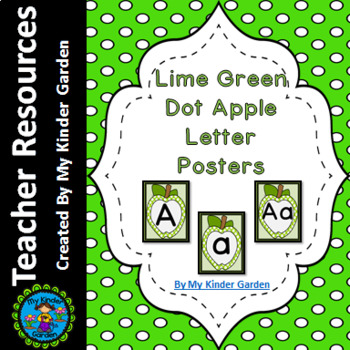 Lime Green  Dot Apple Full Page Alphabet Letter Posters / Word Wall Headers