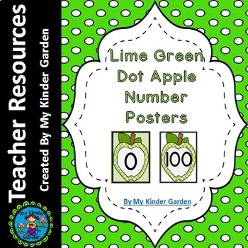 Lime Green Dot Apple Full Page Number Posters 0-100