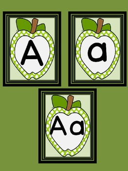Lime Green Dot Apple Letter Flashcards and Posters Bundle