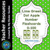 Lime Green Dot Apple Math Number Flashcards 0-100