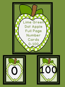 Lime Green Dot Apple Number Flashcards and Posters Bundle 0-100
