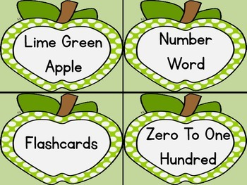Lime Green Dot Apple Number Word Flashcards Zero To One Hundred