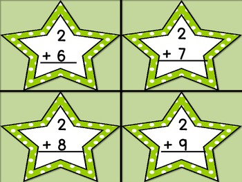 Lime Green Dot Star Addition Flashcards 0-12