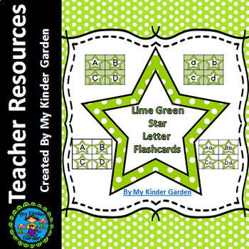 Lime Green Dot Star Alphabet Letter Flashcards