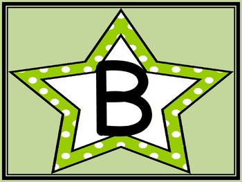 Lime Green Dot Star Alphabet Letter Posters