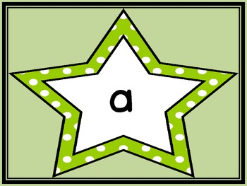 Lime Green Dot Star  Dolch Pre-Primer Sight Word Flashcards and Posters