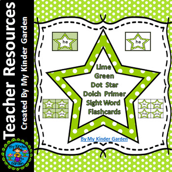 Lime Green Dot Star  Dolch Primer High Frequency Sight Word Flashcards & Posters