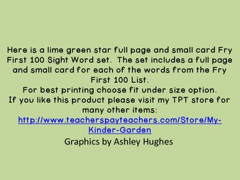 Lime Green Dot Star  Fry First 100 Sight Word Flashcards and Posters